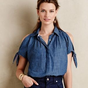 Anthro Holding Horses chambray cold shoulder shirt